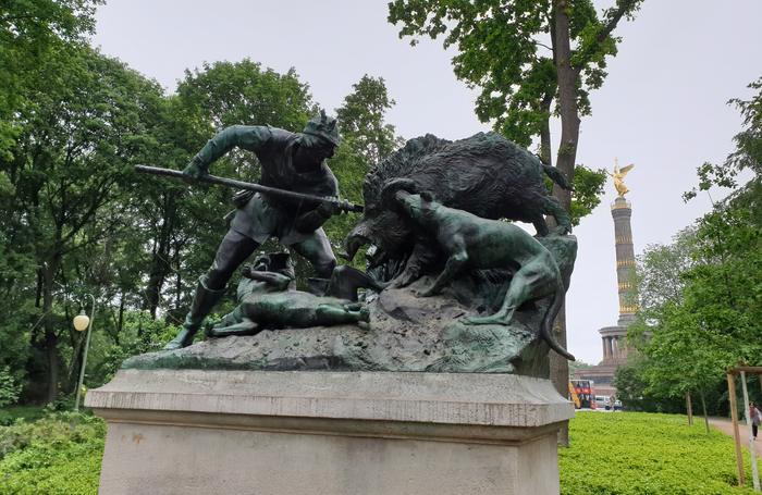 Scena di caccia nel Parco Tiergarten di Berlino